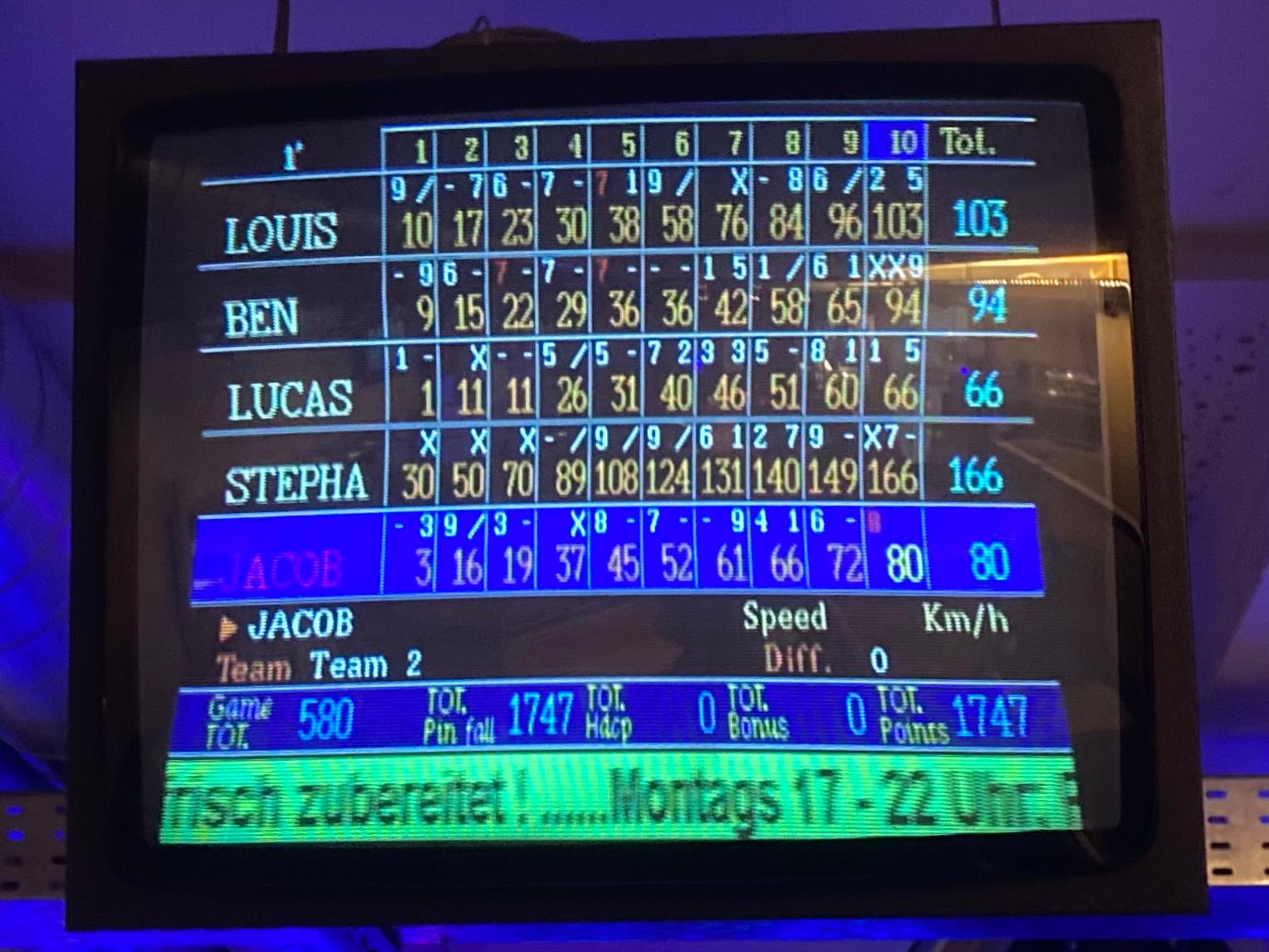 Endstand beim Schwarzlicht-Bowling: Pfarrer Stephan Da Re ist der Sieger